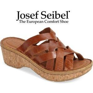 Josef Seibel Natural Leather Woven Sandals 8.5M